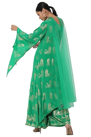 Green Printed One Shoulder Asymmetrical Tunic with Sharara Pants Set by Masaba