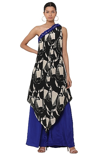 Black Digital Printed Tunic With Blue Palazzo Pants by Masaba