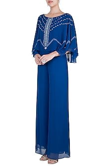 Royal Blue Embroidered Cape Jumpsuit by Mandira Wirk