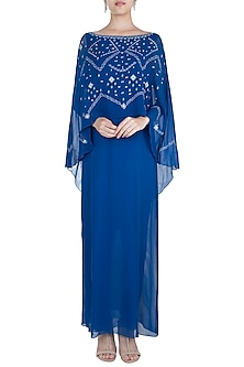 Royal Blue Embroidered Cape Dress by Mandira Wirk