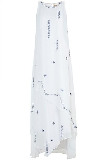 Ivory Embroidered Layered Dress by Mandira Wirk