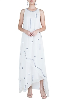 Ivory Embroidered Layered Dress by Mandira Wirk