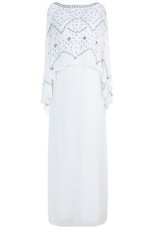 Ivory Embroidered Cape Dress by Mandira Wirk