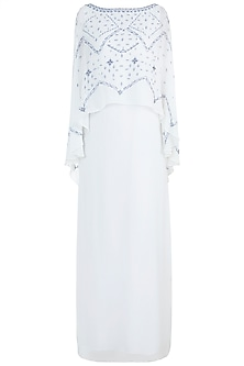 Ivory Embroidered Cape Dress by Mandira Wirk