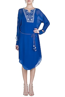 Royal Blue Embroidered Tunic With Belt by Mandira Wirk