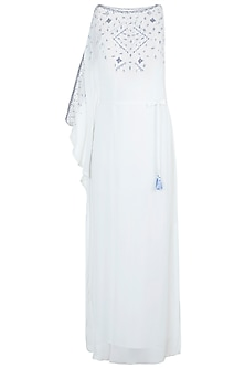 Ivory Embroidered One Sleeve Kaftan With Belt by Mandira Wirk