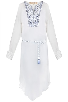 Ivory & Royal Blue Embroidered Tunic With Belt by Mandira Wirk