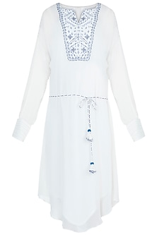 Ivory Resham Embroidered Tunic With Belt by Mandira Wirk