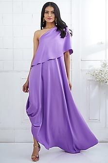 Lilac One Shoulder Cape Dress by Mandira Wirk