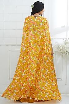 Mustard Yellow Embroidered & Printed Lehenga by Mandira Wirk