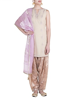 Gold Embroidered Printed Kurta Set by Mandira Wirk