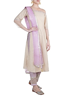 Gold Embroidered Silk Kurta Set by Mandira Wirk