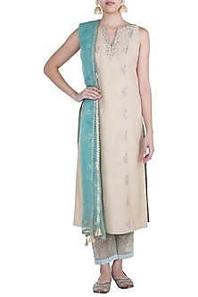 Gold & Aqua Embroidered Kurta Set by Mandira Wirk
