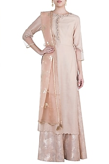 Gold Embroidered Printed Sequins Kurta Set by Mandira Wirk