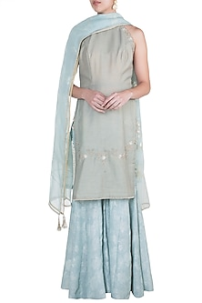 Blue Embroidered Printed Kurta Set by Mandira Wirk