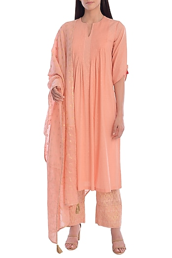 Dark Peach Embroidered Printed Kurta Set With Slip by Mandira Wirk