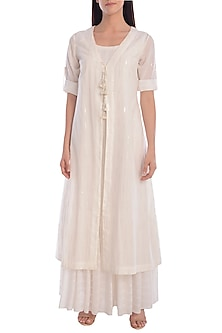 White Hand Embroidered Kurta Dress With Slip by Mandira Wirk