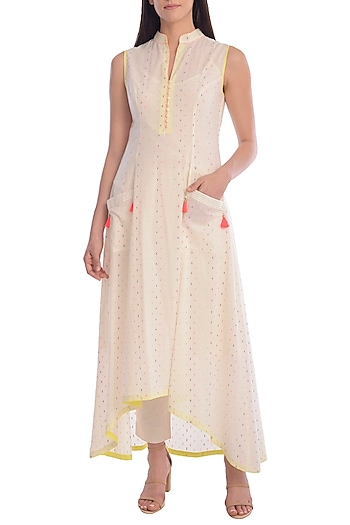 Ivory Hand Embroidered Tunic With Slip by Mandira Wirk