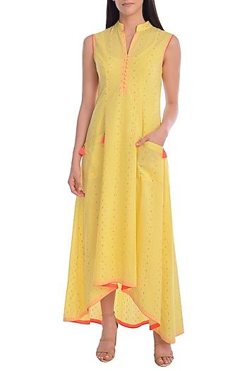 Yellow Hand Embroidered Kurta Dress With Slip by Mandira Wirk