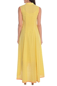Yellow Hand Embroidered Kurta Dress With Slip by Mandira Wirk