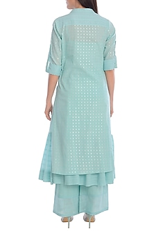 Aqua Blue Kurta With Pants & Slip by Mandira Wirk