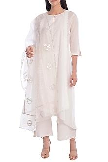White Hand Embroidered & Foil Printed Kurta Set With Slip by Mandira Wirk