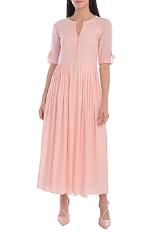Light Peach Hand Embroidered Dress by Mandira Wirk