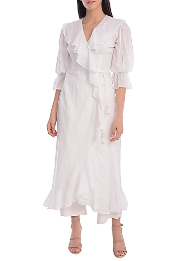 White Ruffled Wrap Dress by Mandira Wirk