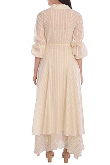 Ivory Overlay Kurta Dress With Asymmetrical Slip by Mandira Wirk