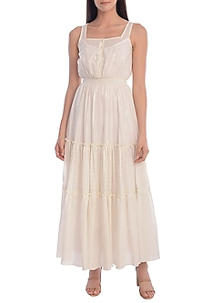 White Tiered Dress With Slip by Mandira Wirk