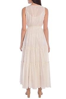 White Tiered Dress With Slip by Mandira Wirk