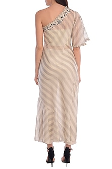 Grey & Ivory Embroidered Striped Kurta Set by Mandira Wirk