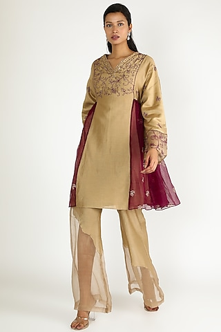 Brown & Wine Embroidered Kurta With Pants by Megha Bansal