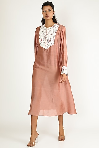 Dull Pink Embroidered Tunic With Slip by Megha Bansal