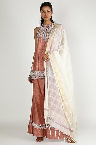 Dull Pink & White Embroidered Kurta Set by Megha Bansal