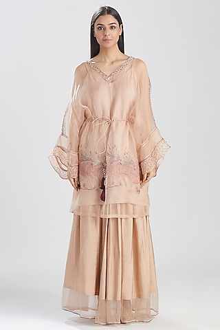 Nude Pink Embroidered Skirt Set by Megha Bansal