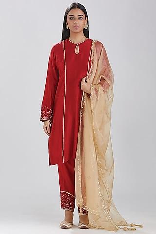 Red Embroidered Kurta Set by Megha Bansal