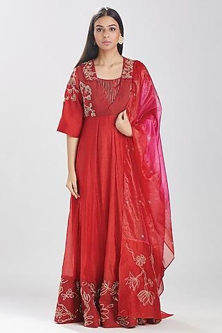 Red Embroidered Anarkali Set by Megha Bansal