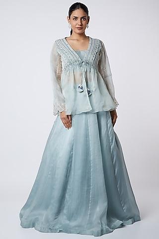Powder Blue Floral Embroidered Skirt Set by Megha Bansal