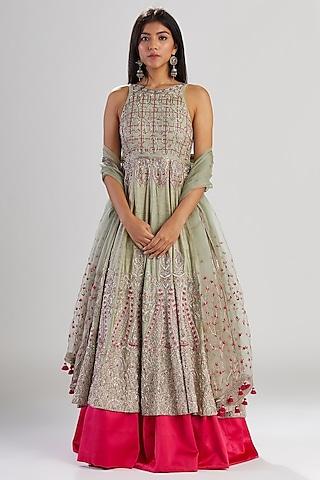 Mint & Celadon Pink Hand Embroidered Anarkali Set by Megha Bansal