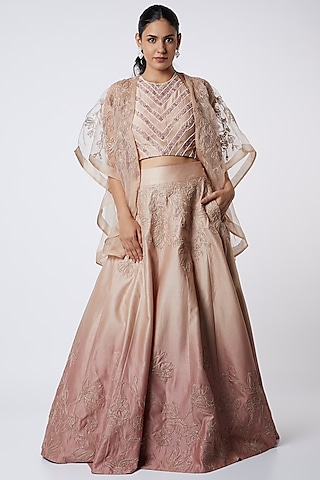 Nude Pink & Dull Pink Embroidered Lehenga Set by Megha Bansal