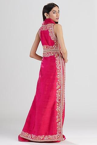 Rani Pink Hand Embroidered Kurta Set by Megha Bansal