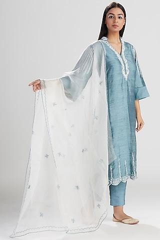 Blue Embroidered & Printed Kurta Set by Megha Bansal