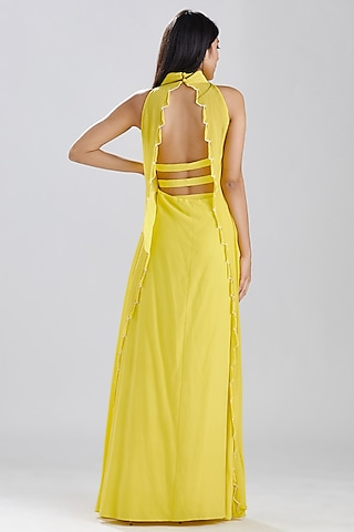 Lime Yellow Hand Embroidered Gown by Megha Bansal