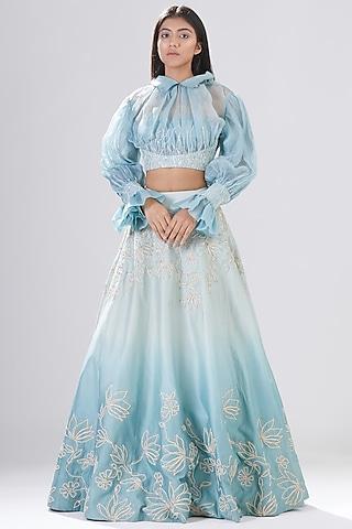 Aqua Embroidered Lehenga Set by Megha Bansal