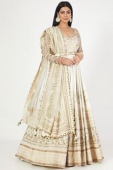 Ivory Embroidered Anarkali Set by Megha Bansal-MEGHA BANSAL