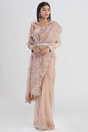 Nude Pink Embroidered Saree Set by Megha Bansal