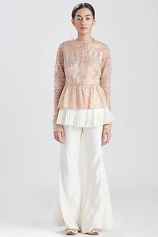 Nude Pink Embroidered Pants Set by Megha Bansal