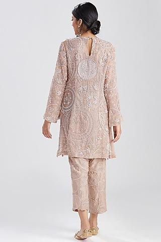 Nude Pink Embroidered Kurta & Pants by Megha Bansal