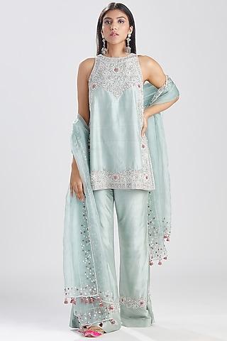 Aqua Blue Embroidered Kurta Set by Megha Bansal